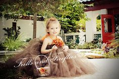 Chocolate Brown Flower Girl Halter Dress with Orange Hydrangea in Baby to 8 Sizes..Flower Girls, Birthdays, Formal Occasions