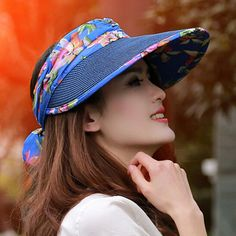 Flower bow sun visor hat for women outdoor riding UV straw hats package