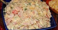 Salata cu pui si maioneza de casa este foarte gustoasa si sanatoasa. este simplu de preparat si ai nevoie de doar cateva ingrediente. Iata-le: 300 grame piept de pui fiert, 4 castraveti marinati, 3 oua, verdeata, 250 grame sunca, 3 rosii, 50... Kefir, Hawaiian Pizza, Turkey Recipes, Pasta Salad, Carne, Potato Salad, Food And Drink, Appetizers, Chicken