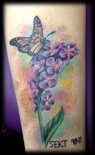 lilac+and+butterfly+tattoo | butterfly #tattoo #JoeMatisa in memory of Sarah Elizabeth Tulloss