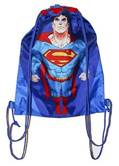 Polyester Pull String Sport or School Backpack Superman American Super Hero Character Red Blue and W @ niftywarehouse.com #NiftyWarehouse #Superman #DC #Comics #ComicBooks