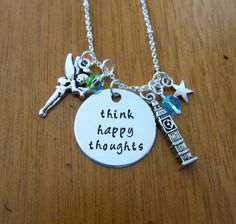 """Peter Pan Inspired Necklace. Peter Pan """"Think Happy Thoughts"""".  crystals, for women or girls. Hand Stamped. Peter Pan Necklace."""