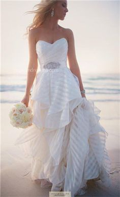 In LOVE with this beachy wedding dress   striped fabric   nautical wedding dress