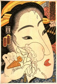 Geisha with Ice Cream Cone (Cherry) from 31 Flavors Invading Japan - Masami Teraoka | FAMSF Explore the Art
