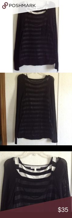 Victoria's Secret Sweater Top Twin Set Excellent condition. Little to no wash wear. Really nice Victoria's Secret twinset top. The tank top and sweater are sewn together at the bottom. Black and white striped low cut tank. Black open knit boat neck sweater with long sleeves. Pocket on the front of the sweater. Great as a top or swim cover up. Size medium. All offers welcome Victoria's Secret Tops Tees - Long Sleeve