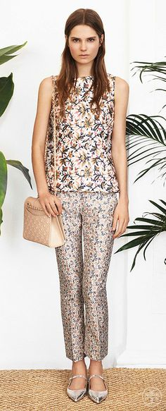 Mix floral prints in varying scales on clean silhouettes | Tory Burch Spring 2014