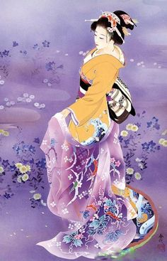 Japanese Woman in Purple | Tattoo Ideas & Inspiration - Japanese Art | Haruyo Morita Artwork | #Japanese #Art
