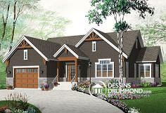front - BASE MODEL New Craftsman house plan, large kitchen island, central fireplace, open floor plan layout - Kipling 4 The Plan, How To Plan, Craftsman Ranch, Craftsman House Plans, Craftsman Style, Tudor Style Homes, Ranch Style Homes, Tudor House, Style At Home
