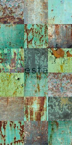 Esta Home Vintage Rules! WallpaperXXLMetalen platen groen Prijs€115,00 Afmetingen: 8,37M lang en 46,5CM breed Artikelnummer: 158203 Behangplaksel: Perfax roze Kwaliteit: vliesbehang
