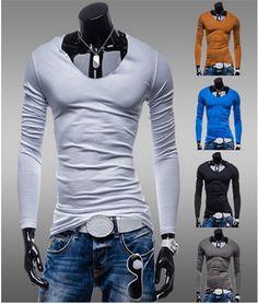 maglia T-shirt uomo ragazzo maniche lunghe maglie cotone Spedizione gratuita