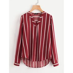V-Placket Curved Dip Hem Blouse (695 RUB) ❤ liked on Polyvore featuring tops, blouses, multicolor, v neck long sleeve top, striped long sleeve top, striped top, red top and long sleeve tops