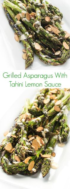 A fast and easy summer side dish recipe, asparagus is grilled until slightly charred then drizzled with a creamy tahini lemon sauce.:
