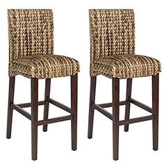Best Choice Product BCP Set of Hand Woven Seagrass Bar Stools Mahogany Wood Frame Bar Height Seagrass Bar Stools, Woven Bar Stools, Indoor Outdoor, Outdoor Living, Wood Patio Chairs, Garden Chairs, Room Chairs, Dining Chairs, Home Bar Furniture
