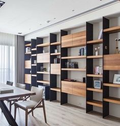 Beautiful living room bookcase with beautiful interior Living Room Bookcase, Living Room Redo, Living Room Remodel, Home Living Room, Living Room Designs, Small Office Design, Home Office Design, Home Office Decor, Home Decor