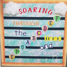 Music Bulletin Board: Soaring Through the Lines and Spaces -Bulletin Board - perfect for the elementary music room to reinforce treble clef note names Space Bulletin Boards, Music Bulletin Boards, Singing Lessons, Music Lessons, Singing Tips, Learn Singing, Piano Lessons, Music Classroom, Classroom Decor
