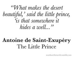 The Little Prince.  One of my favorite books. One of my favorite quotes.