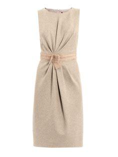 Max mara studio Sole Sleeveless Tunic Dress with Bow Waist in Beige | Lyst