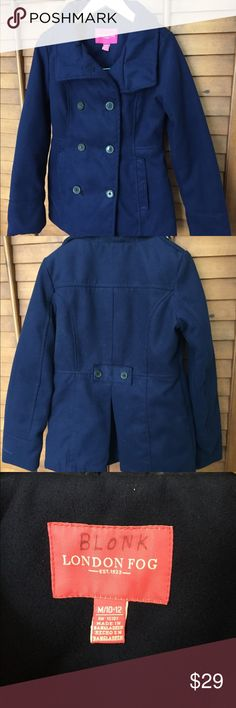 London Fog Girl's Peacoat- M 10/12 Cute blue color! Excellent condition, see photos. Runs a little bit small in my opinion, and we rolled the sleeves once for a better fit.  Thanks!! 🌸 London Fog Jackets & Coats Pea Coats