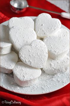 Rich and creamy homemade heart-shaped marshmallows from @veryculinary