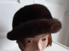 60s Dk Brown Mink Fur Women Cloche Hat  Canada Small 21 1/2 inches Creation Stella by LoukiesWorld on Etsy