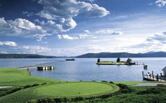 14th hole at Coeur D'Alene Resort Golf Course in Idaho.