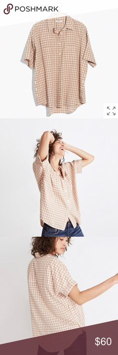 Madewell Courier side-button gingham top PRODUCT DETAILS A fresh version of our beloved boxy-cool shirt with buttons down each side—leave one or two undone for a low-key hint of skin.  Slightly oversized. Cotton. Machine wash. Madewell Tops Button Down Shirts