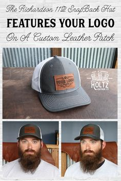 New by Holtz Leather, Custom Leather Patch Hats with your logo! These are Richardson 112 trucker style snapback hats. We burn your logo onto a Full Grain leather patch, which we then stitch onto the front of the hat. There is no minimum order quantity required.