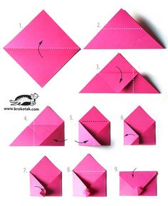 Envelope - origami ideas for boyfriend diy Love letter discovered by Sara on We Heart It Envelope Origami, Origami Envelope Easy, Origami Simple, Origami Paper, Diy Paper, Paper Crafting, Origami Letter, Origami Swan, Origami Bow