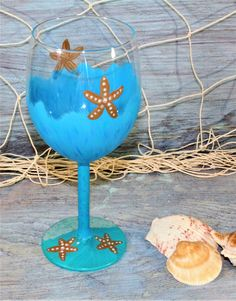 Blue & Green Hand Painted Wine Glass with Starfish, Creamy Blue w/ Jade Green Starfish Glass, Starfish Wine Glass by TropicalTLC on Etsy