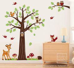 Woodland animaux Wall Decal forêt animaux Nursery Wall Decal Bambi Deer chouettes écureuils raton laveur mural autocollant bébé enfants chambre Art déco