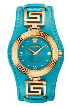 Women's Versace 'V-Signature' Convertible Leather Strap Watch,
