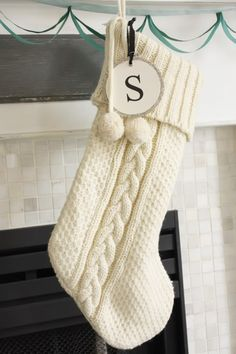 This cable knit stocking is a fantastic Christmas knitting pattern. This handmad. - This cable knit stocking is a fantastic Christmas knitting pattern. This handmade stocking is so gorgeous. Knitted Christmas Stocking Patterns, Knitted Christmas Decorations, Knitted Christmas Stockings, Crochet Christmas, Monogram Stockings, Knit Stockings, Diy Design, Knitting Socks, Knitting Projects