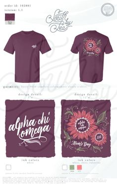 Alpha Chi Omega | AXO | Floral T-Shirt Design | Mom's Day | Mother's Day | Parents Weekend | South by Sea | Greek Tee Shirts | Greek Tank Tops | Custom Apparel Design | Custom Greek Apparel | Sorority Tee Shirts | Sorority Tanks | Sorority Shirt Designs