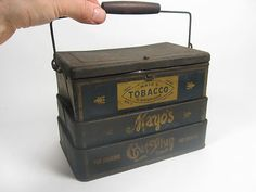 ANTIQUE 19th CENTURY MAYO'S TOBACCO CUT PLUG COLLAPSIBLE LUNCH BOX TIN ~RARE~