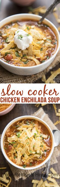 Slow Cooker Chicken Enchilada Soup  Ingredients Meat 2 Chicken breasts, large raw and thawed Produce 1 4-7oz can diced green chiles 1 Avocado 1 14oz can Black beans 1 Cilantro 1 14oz can Corn 1 tbsp Garlic 1 14oz can Tomatoes, with juice Canned Goods 1 14oz can Chicken broth Baking & Spices 1 tsp Salt Bread & Baked Goods 1 Tortilla strips Dairy 1 Cheese 1 Sour cream Prepared 1 10oz can Enchilada sauce, red