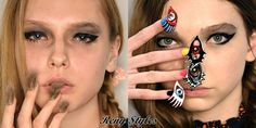 CND's Design Lab Team made two sets of nails for Libertine's Niki de Saint Phalle-inspired collection: faux fur nails and sculptural eyes embellished with Swarovski crystals. Nail Art Design 2017, Fall Nail Trends, Popular Nail Colors, Cute Nail Designs, Fur Fashion, Nail Polish Colors, Manicure And Pedicure, Beauty Make Up