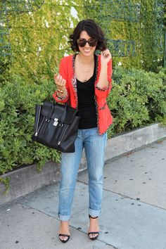 boyfriend jeans with a fun blazer