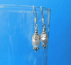 Unique Earrings for Girlfriend Gift, Unique Simple Earrings, White and Silver Dangle Earrings, Unique Jewelry Gift Idea