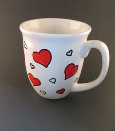 Hey, I found this really awesome Etsy listing at https://www.etsy.com/listing/173986859/coffee-mug-hand-painted-red-hearts-white