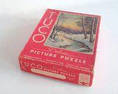 Vintage Puzzle, Tuco Picture Puzzle, Winter's Crimson Sunset, Puzzle Box, Jigsaw Puzzle in Original Box, Thick Pieces