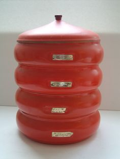 Vintage Red Stacking Canisters - Coffee Sugar Tea Flour 60s round kitchen containers with lid. $25.00, via Etsy. #smartvilleSweepstakes