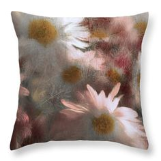 Margarita Buslaeva Throw Pillow featuring the photograph Burnt By The Sun by Margarita Buslaeva #MargaritaBuslaevaFineArtPhoto #Chamomile #SummerFlowers #HomeDecor #Pillows