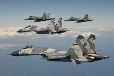 Sukhoi Su-27 Fighters Accompanied by Two F/A-18 Hornets
