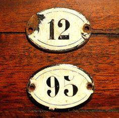 Vintage French Enamel Number Signs Plaque DIY by VintageFleaFinds, $8.00