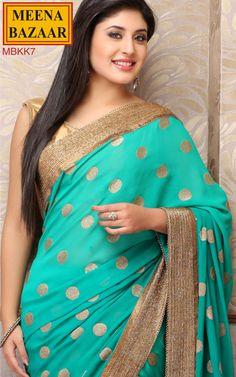 Polka Dot Embroidered Saree with Cut-Dana Border on Georgette fabric Pakistani Dresses, Indian Sarees, Indian Dresses, Indian Outfits, Indian Groom Wear, Indian Attire, Indian Wear, Designer Silk Sarees, Indian Designer Wear