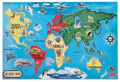 "Amazon.com: Melissa & Doug World Map 33 pcs Floor Puzzle, 2""x3""ft: Melissa & Doug: Toys & Games"