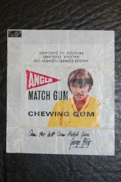 George Best Anglo Bubble gum chewing gum wrapper