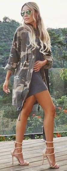 #fall #trending #outfits | Camo + Grey