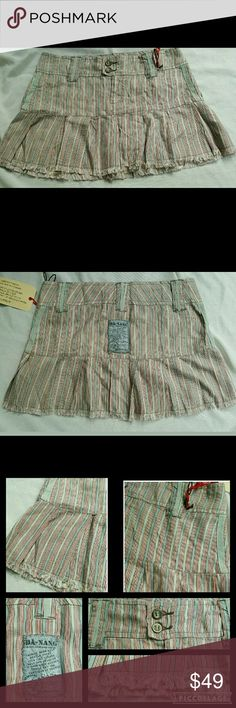 """Danang Frayed Hem Variegated Flouncy Mini Skirt Nwt  Da nang  So stinking cutesy..but still.edgy w/frayed hem & Vtg/retro side grosgrain trim, variegated multi color stripes, flounce hem,UBER MINI skirt Tagged sz L, fits a smaller.sz imo.. ***Waist 16.5"""" one side ***Length 12-12.5"""" ****so best worn hip slung..Therefore pls measure where u want waistband to rest cos this baby DOES NOT STRETCH..it is a 100% silk woven material.. I purchased this off ebay several yrs ago & i am thinking perhaps…"""