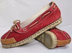 Genuine Timberland Leather Hemp Sneakers Fashion Designer Womans UK 4,5 EU 37RED